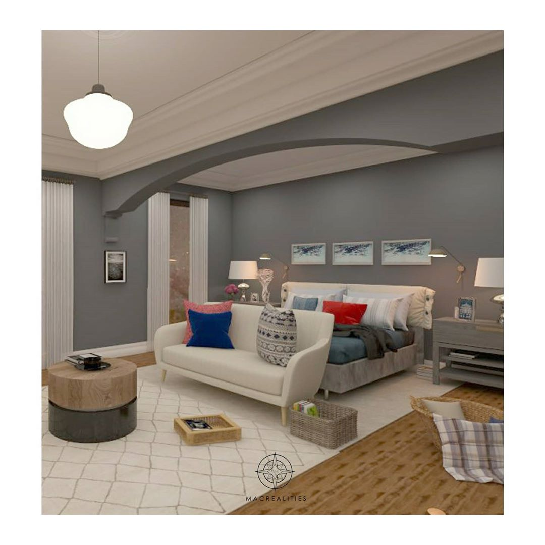 Designed this cozy atmosphere with charcoal color walls enhanced with